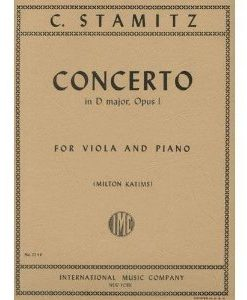 Stamitz - Concerto In D Major Op. 1. For Viola and Piano. Edited by Katims. by International..